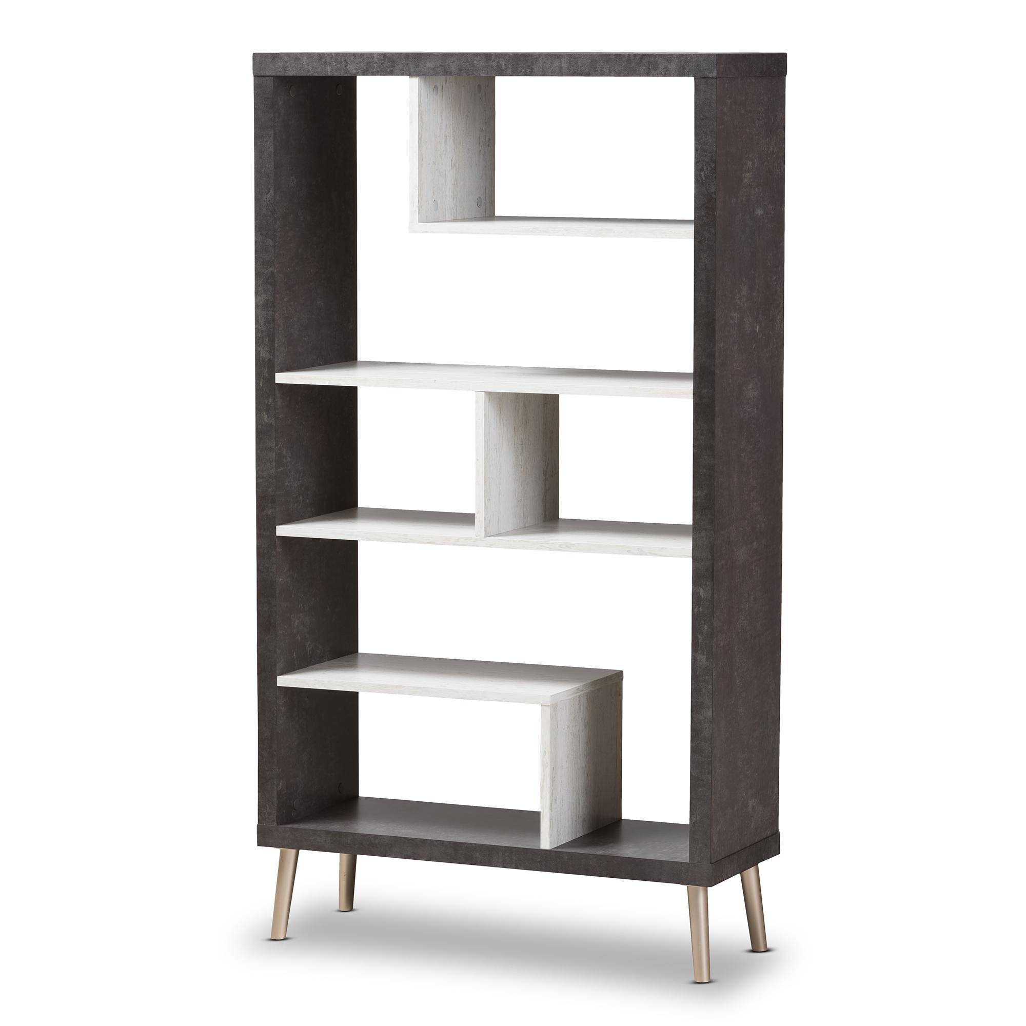 modern bookshelves furniture. Baxton Studio Atlantic Modern And Contemporary Dark Brown Light Grey Two-Tone Finished Wood Bookshelves Furniture A