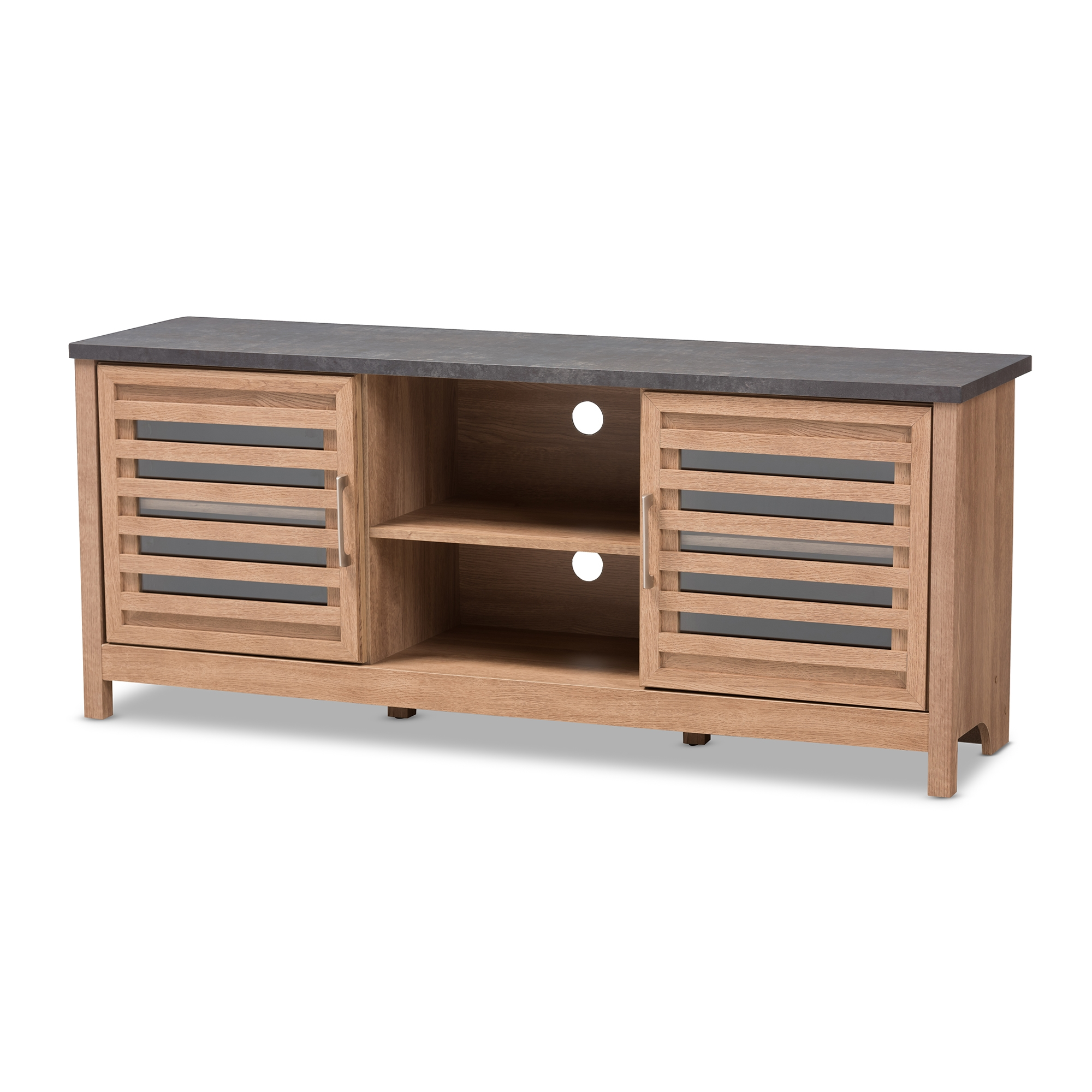 baxton studio pacific modern and contemporary light brown and grey two tone finished 59 inch tv stand - Light Colored Tv Stands