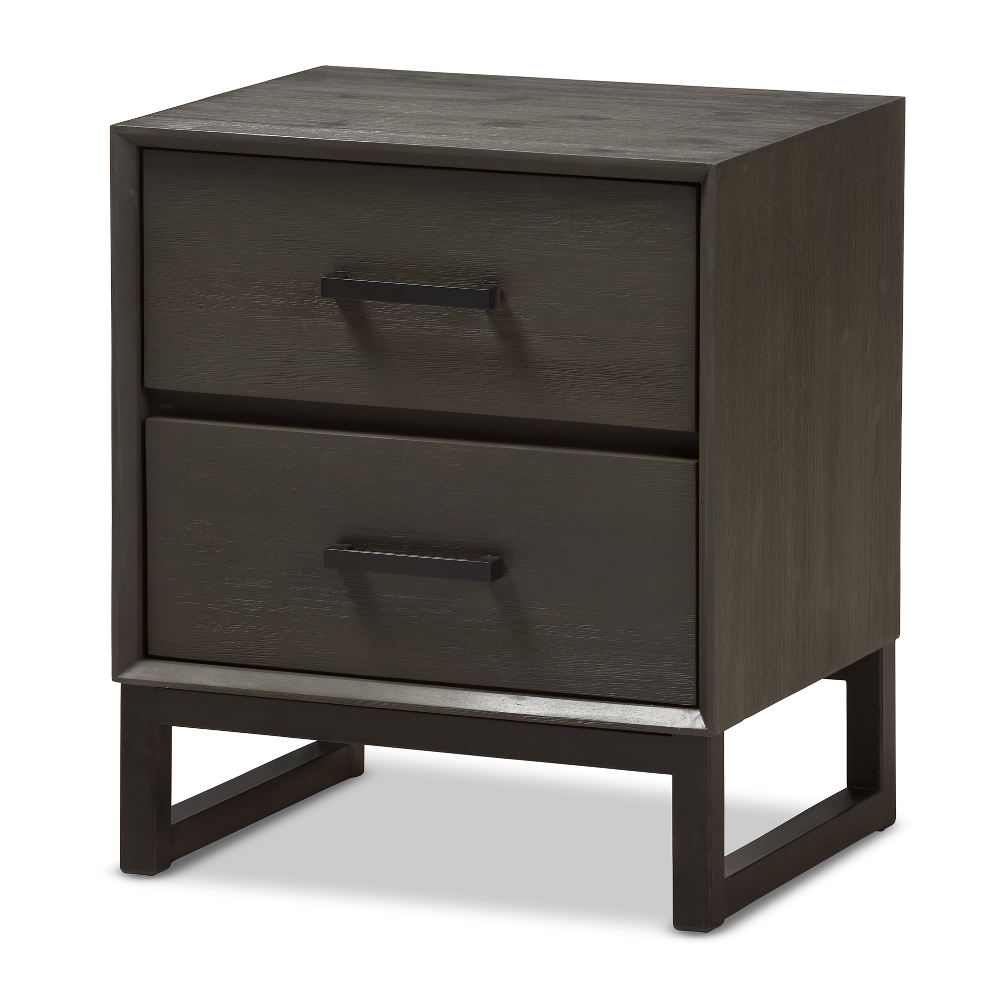 Baxton Studio Parris Rustic Grey Wood And Black Metal 2 Drawer Nightstand