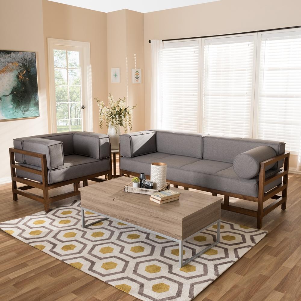 Baxton Studio Shaw Mid Century Modern Grey Fabric Upholstered Walnut Wood 2 Piece Living Room