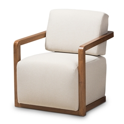 modern chair living room. Baxton Studio Sawyer Mid Century Modern Light Beige Fabric Upholstered  Walnut Wood Armchair Affordable modern Accent Chairs Living Room Furniture