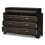 Baxton Studio Finley Modern and Contemporary Antique Grey 8-Drawer Dresser - BSOC5236A-Grey-Dresser