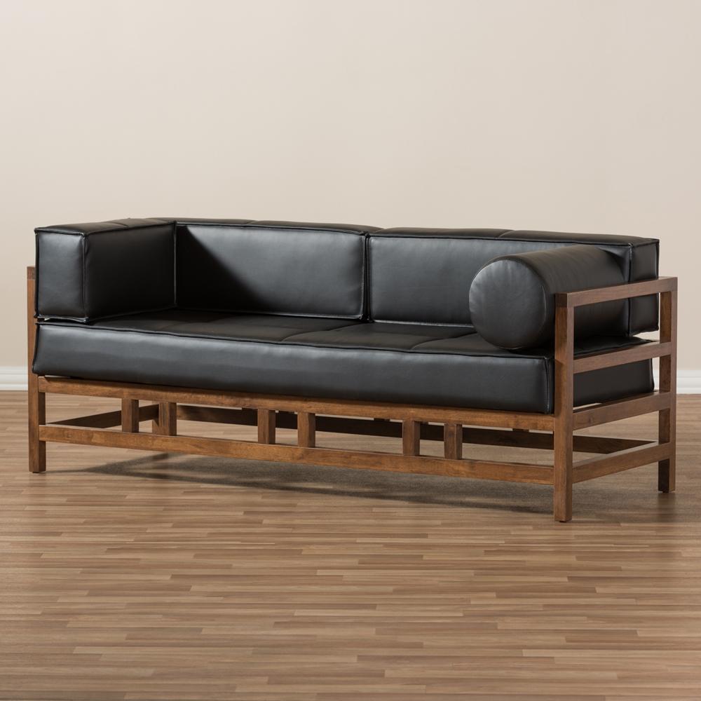 Baxton Studio Shaw Mid Century Modern Pine Black Faux Leather  ~ Leather Mid Century Modern Sofa