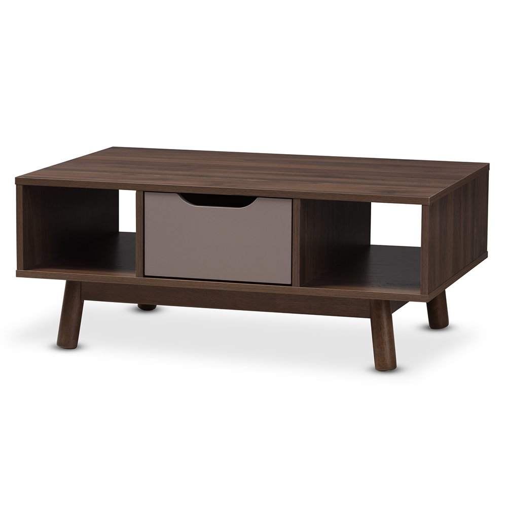 baxton studio britta midcentury modern walnut brown and grey twotonefinished wood. coffee tables  living room furniture  affordable modern