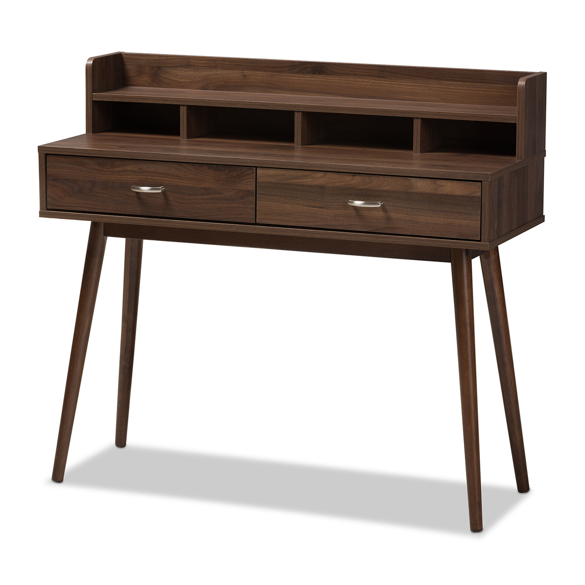 Image of: Baxton Studio Disa Mid Century Modern Walnut Brown Finished 2 Drawer Desk