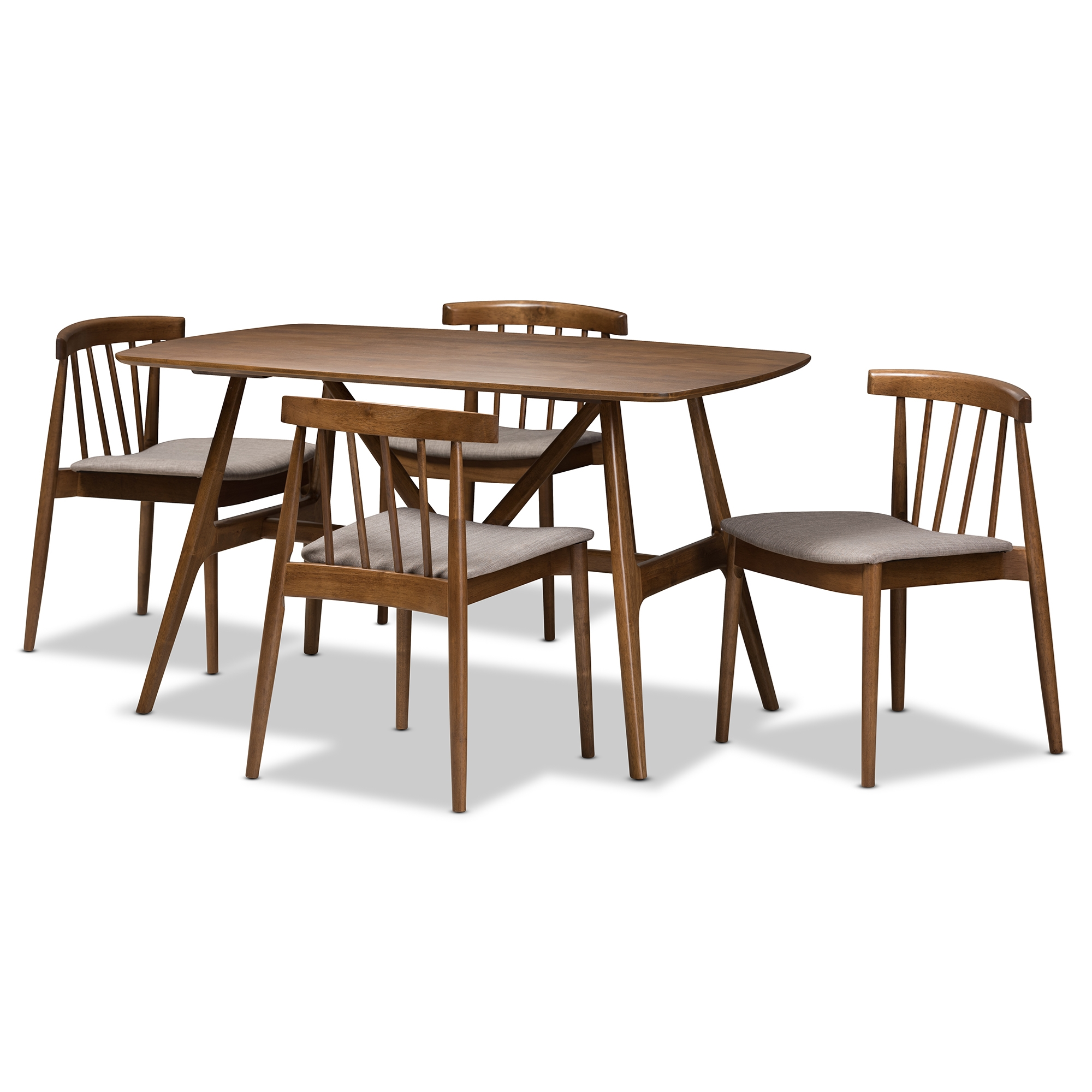 Baxton Studio Wyatt Mid Century Modern Walnut Wood 5 Piece Dining Set  Affordable Modern