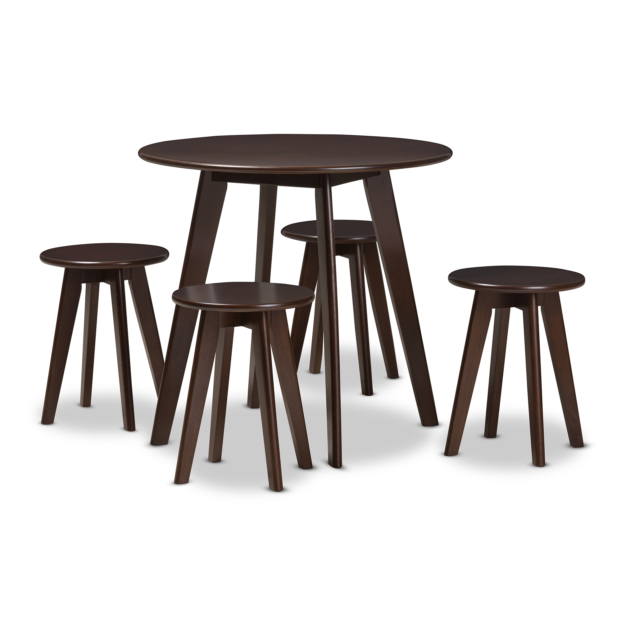 Baxton Studio Zula Mid Century Modern Walnut Wood 5 Piece Dining Set  Affordable Modern