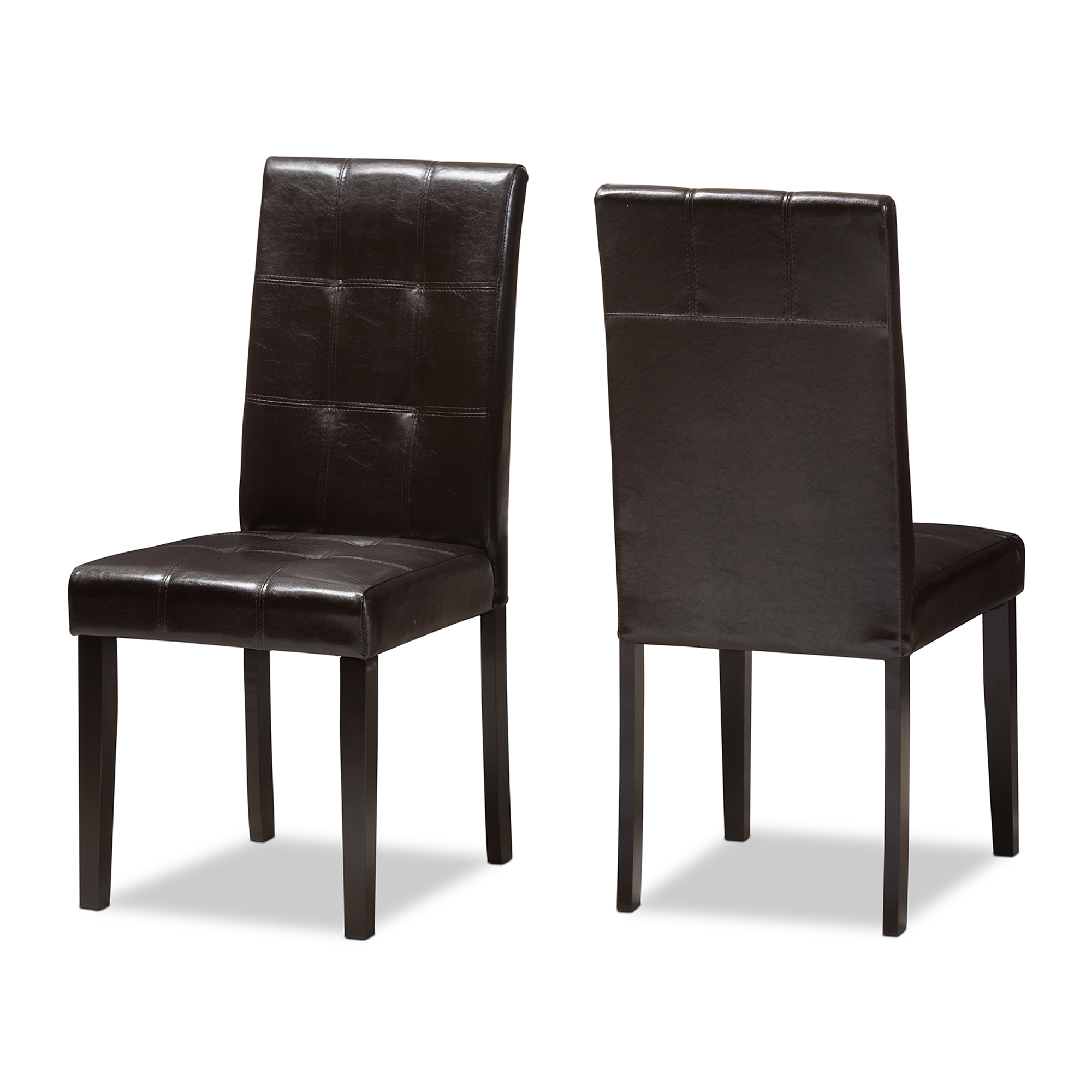 Baxton Studio Avery Modern And Contemporary Dark Brown Faux Leather  Upholstered Dining Chair Set Of 2