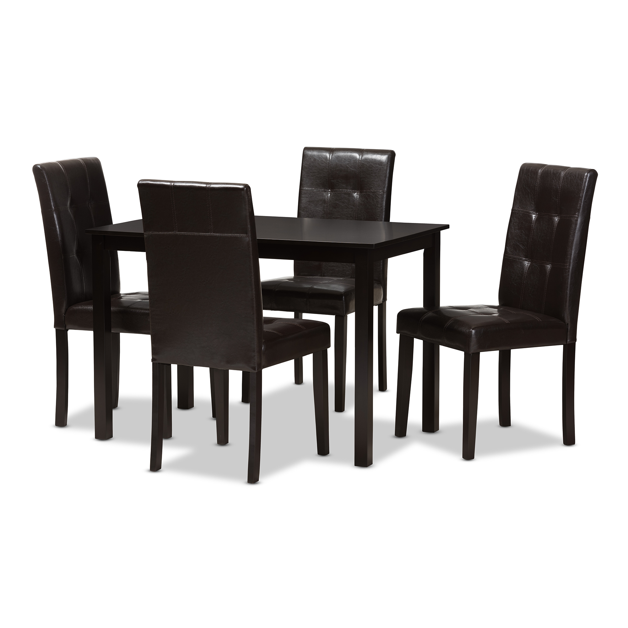 Baxton Studio Avery Modern And Contemporary Dark Brown Faux Leather  Upholstered 5 Piece Dining Set
