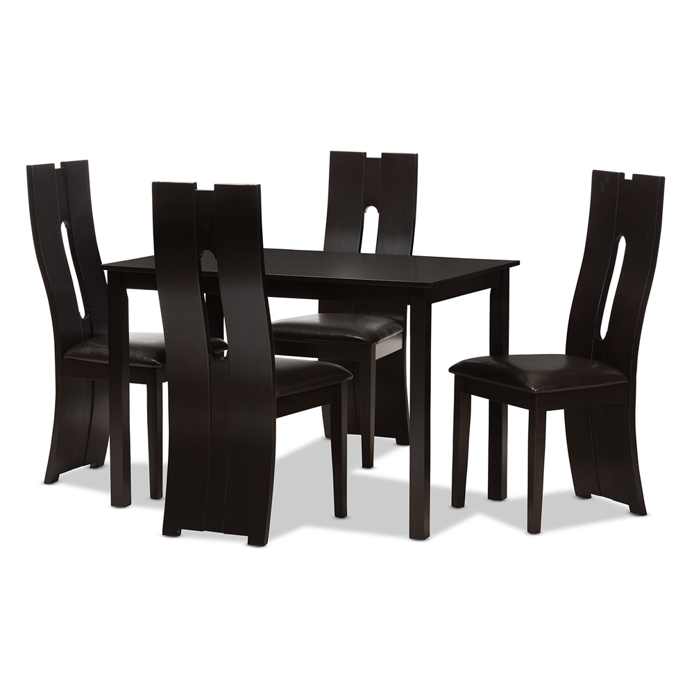 baxton studio alani modern and contemporary dark brown faux leatherupholstered piece dining set. dining sets  dining room furniture  affordable modern furniture