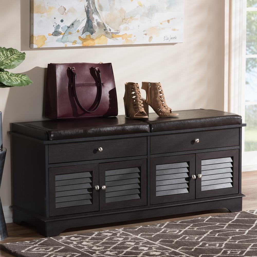 baxton studio leo modern and contemporary dark brown wood drawer shoe storagebench . baxton studio leo modern and contemporary dark brown wood drawer