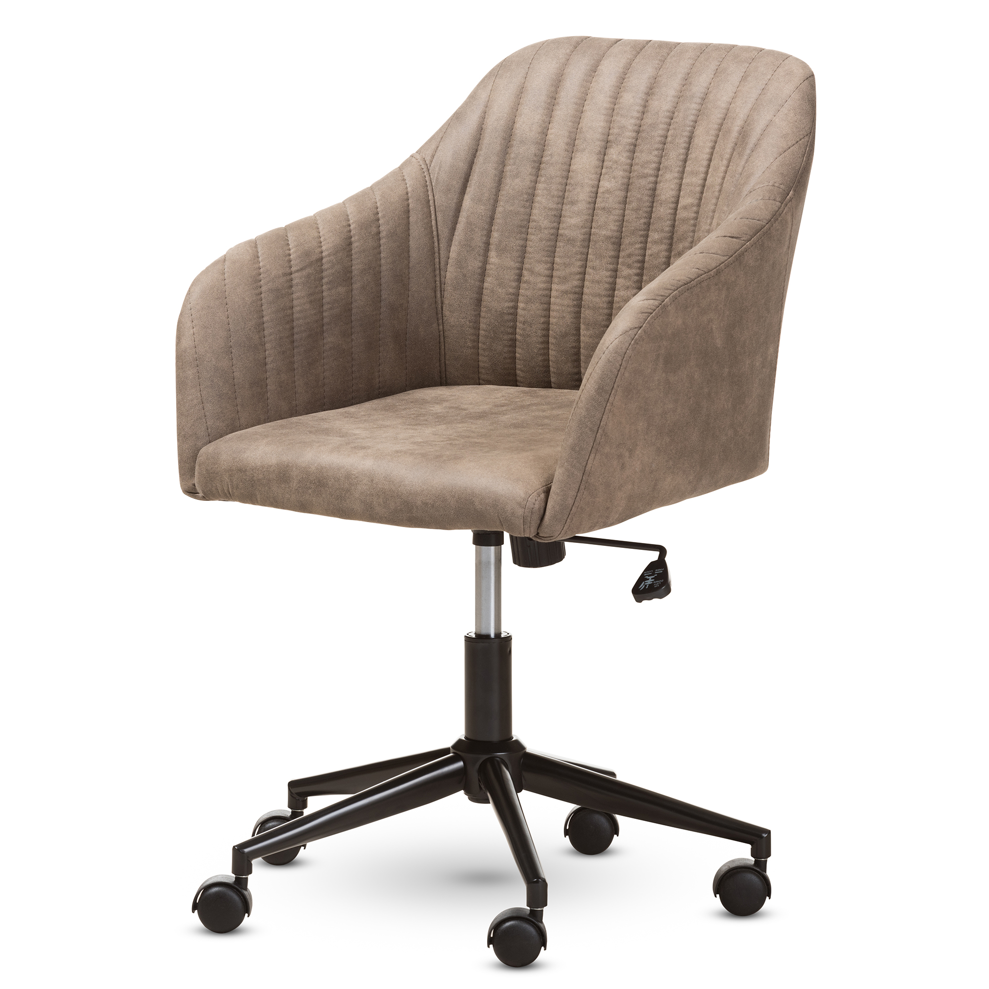 Image of: Baxton Studio Maida Mid Century Modern Light Brown Fabric Upholstered Office Chair