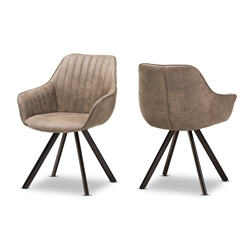 Baxton Studio Blanford Mid-Century Modern Light Brown Fabric Upholstered Dining Chair Set of 2 Affordable modern furniture in Chicago, classic dining room furniture, modern chair, cheap dining chairs
