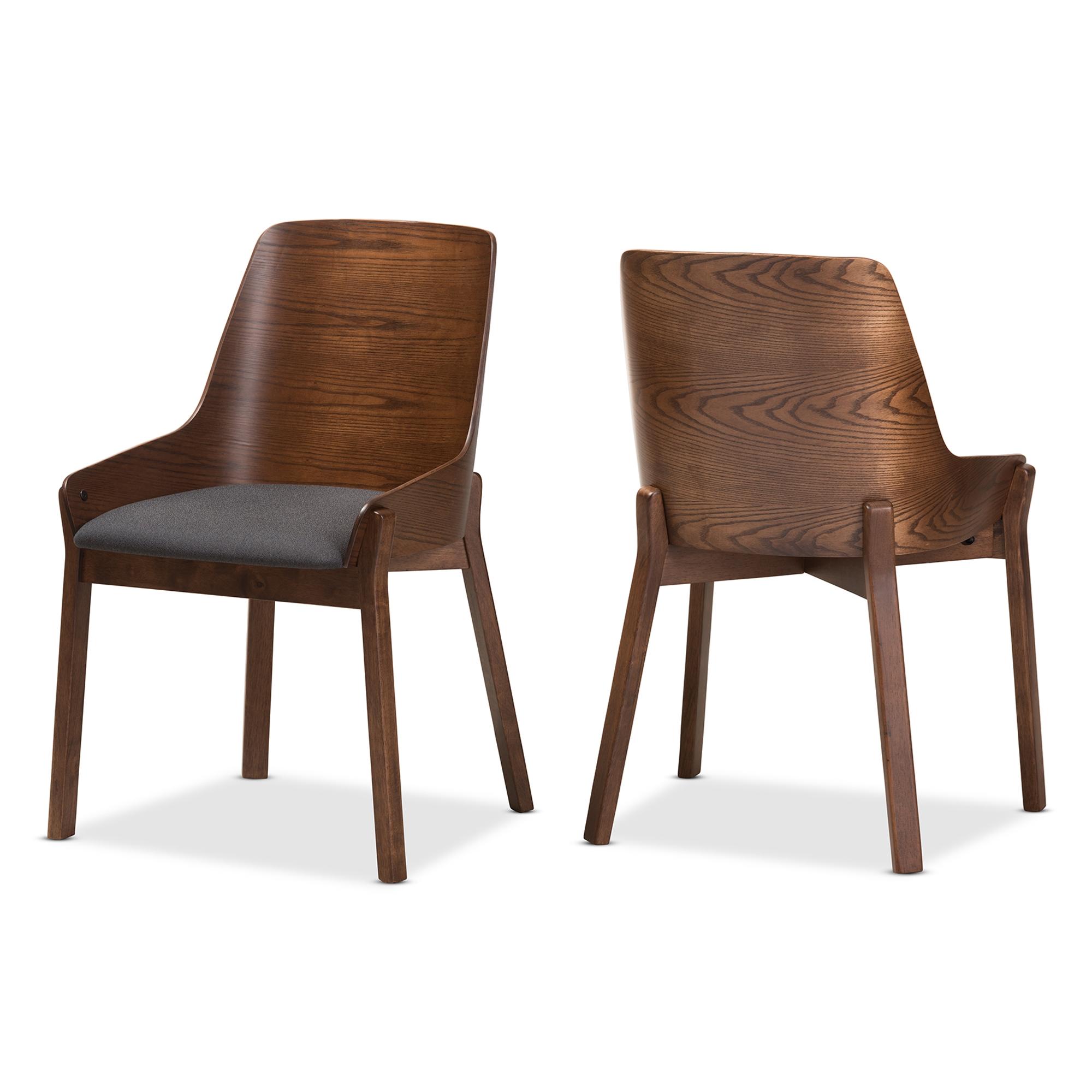 Charming Baxton Studio Rye Mid Century Modern Walnut Wood Dark Grey Fabric Dining  Chair Set Of 2