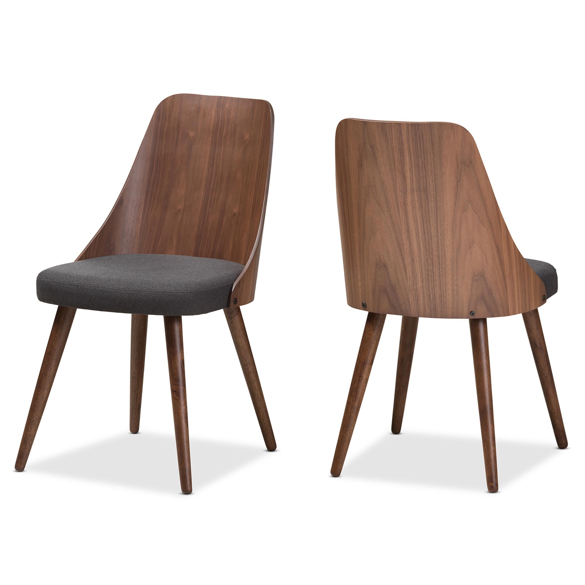 Baxton Studio Romily Mid Century Modern Walnut Wood Dark Grey Fabric Dining  Chair Set Of