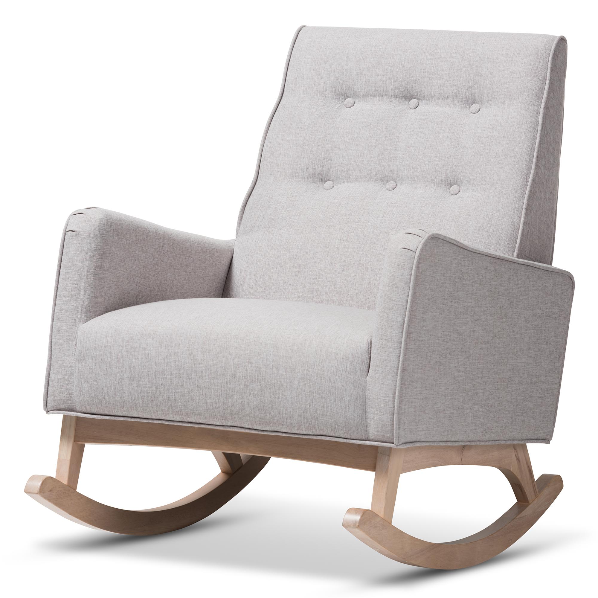Baxton Studio Marlena Mid Century Modern Greyish Beige Fabric Upholstered  Whitewash Wood Rocking Chair