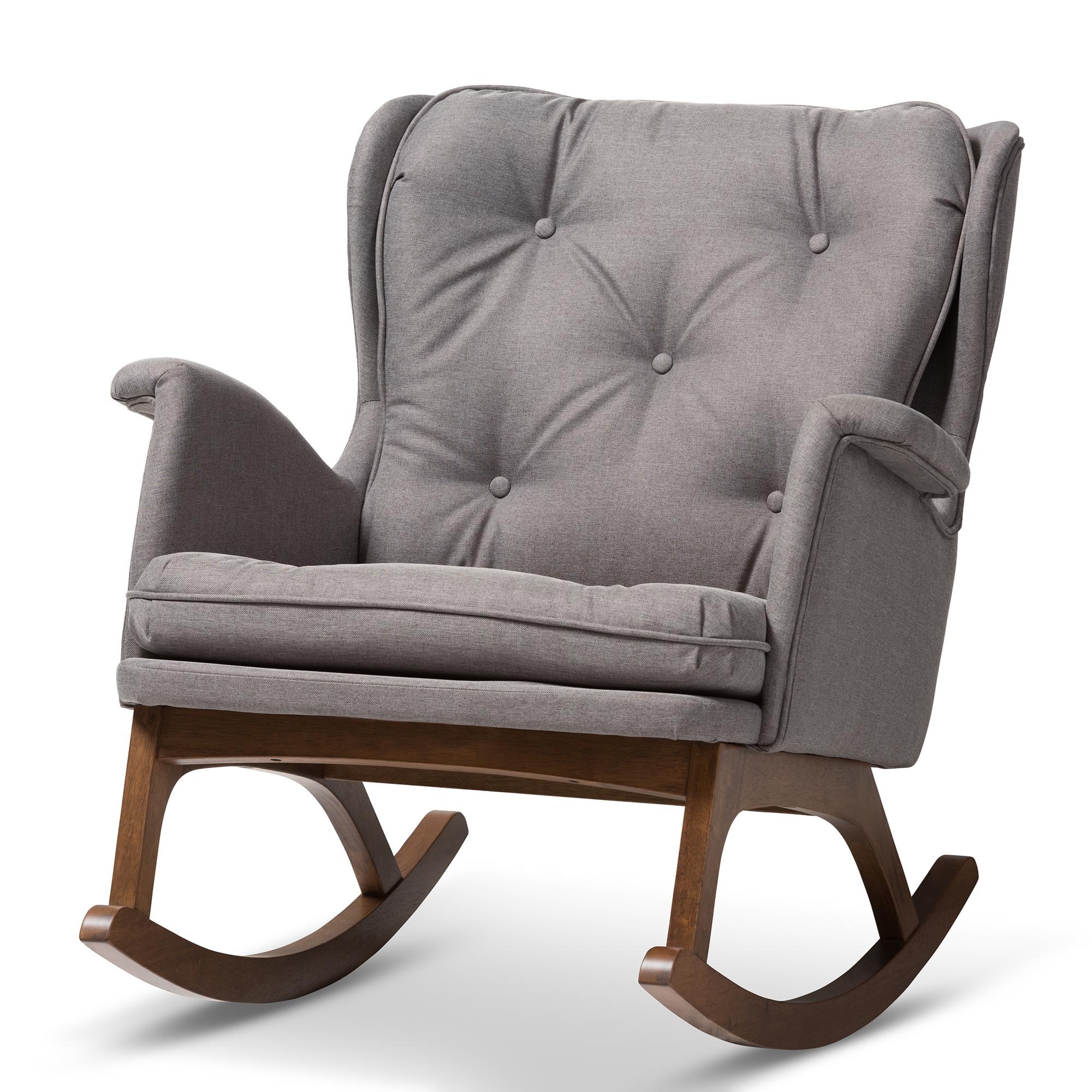 Baxton Studio Maggie Mid Century Modern Grey Fabric Upholstered  Walnut Finished Rocking Chair