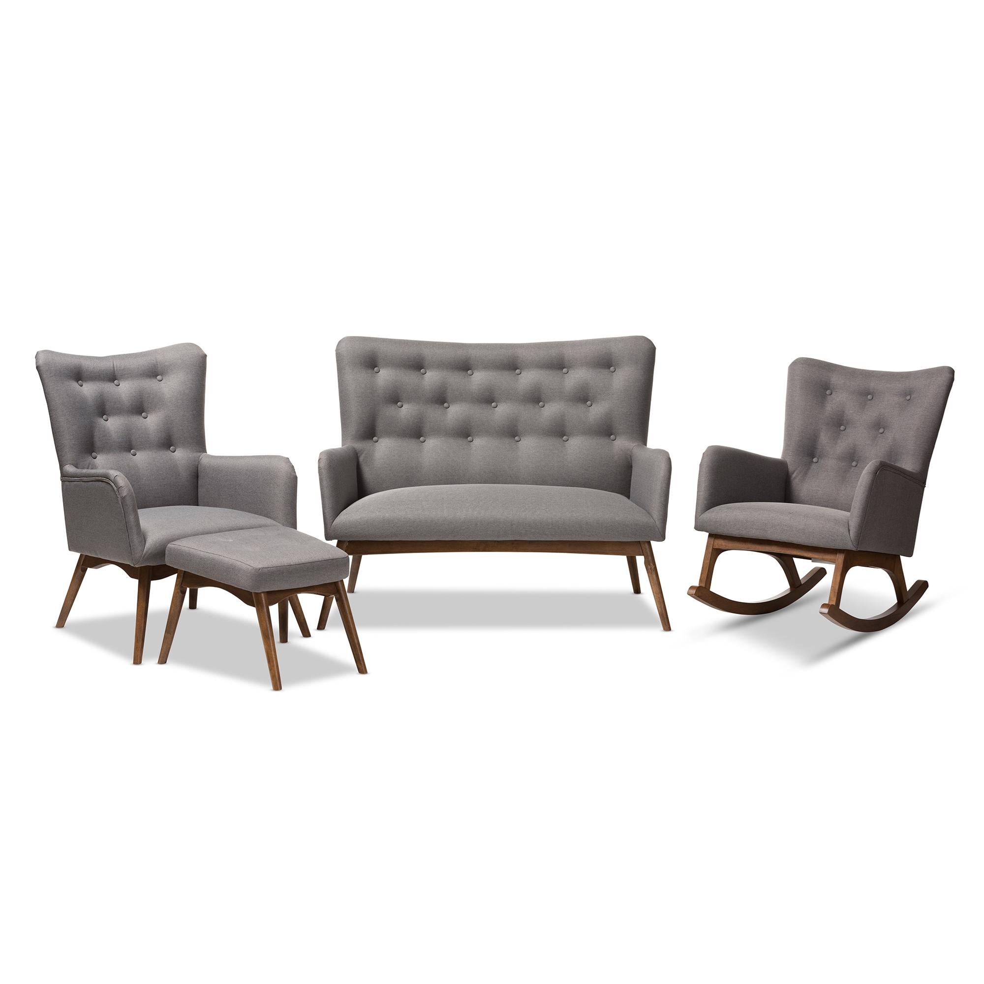 Baxton Studio Waldmann Mid-Century Modern Grey Fabric Upholstered 4 ...