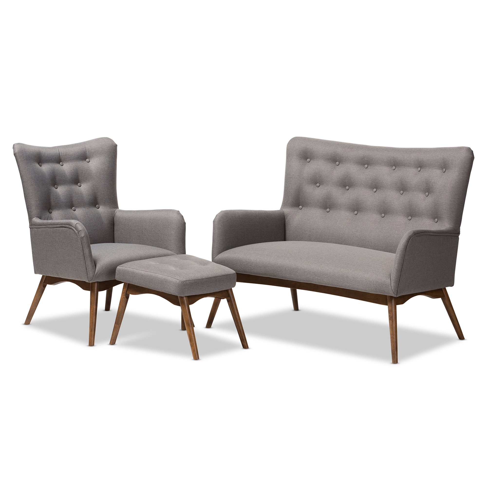 Baxton Studio Waldmann Mid Century Modern Grey Fabric Upholstered 3 Piece Livingroom  Set Affordable