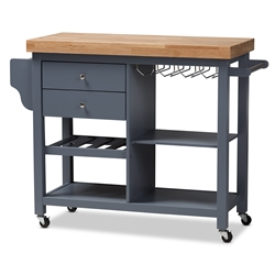 baxton studio sunderland coastal and farmhouse grey wood kitchen cart affordable modern furniture in chicago - Kitchen Carts