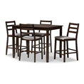 Baxton Studio Nadine Modern and Contemporary Walnut-Finished Light Grey Fabric Upholstered 5-Piece Pub Set Affordable modern furniture in Chicago, classic bar furniture, modern pub set, cheap pub sets
