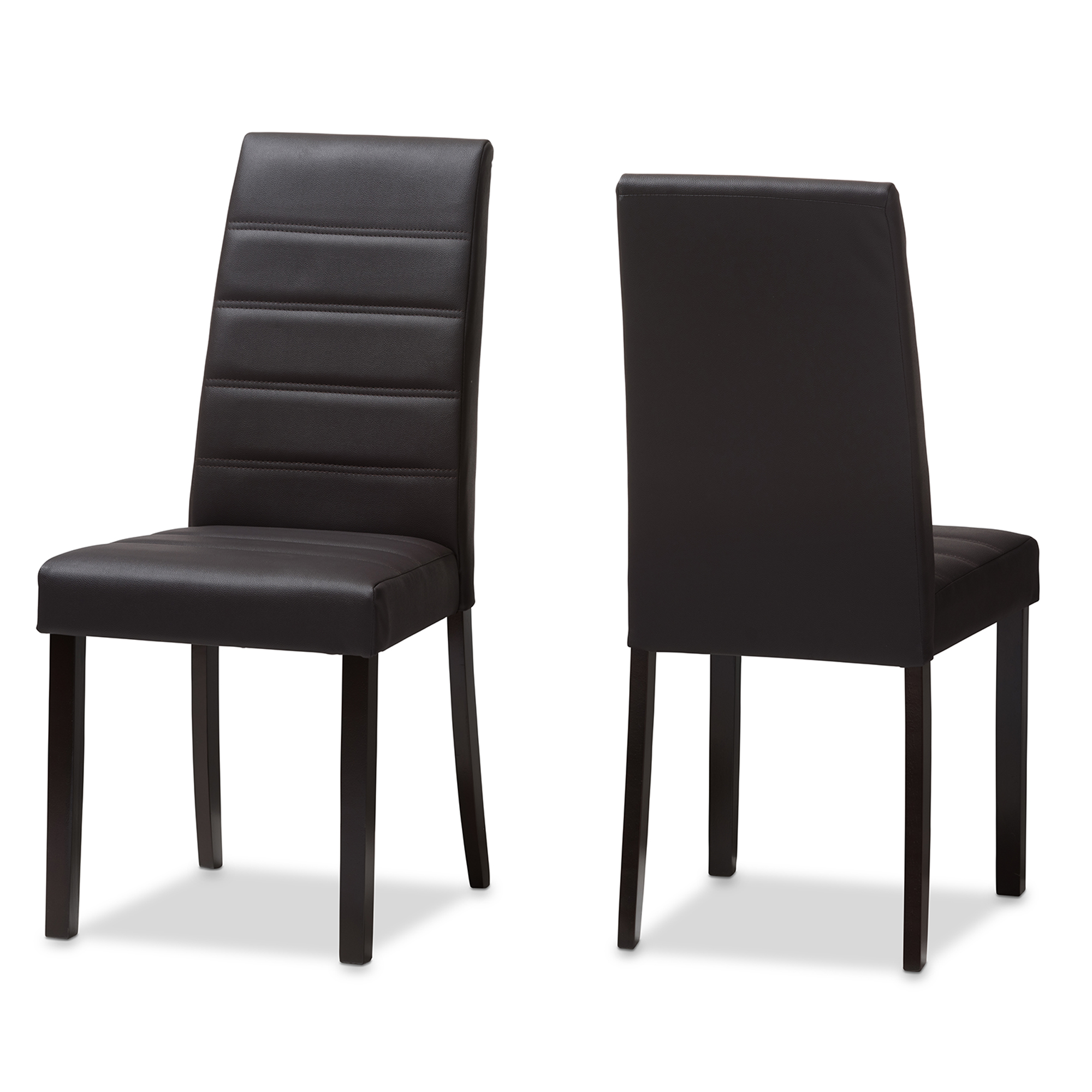 Dining Chairs Set Brown Faux Leather Modern Style Walnut: Baxton Studio Lorelle Modern And Contemporary Brown Faux