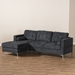 Baxton Studio Mireille Modern and Contemporary Dark Grey Fabric Upholstered Sectional Sofa - BSOR7860-Dark Gray-LFC