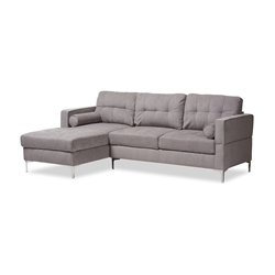 Baxton Studio Mireille Modern and Contemporary Light Grey Fabric Upholstered Sectional Sofa Affordable modern furniture in Chicago, classic living room furniture, modern sofa, cheap sectional sofa