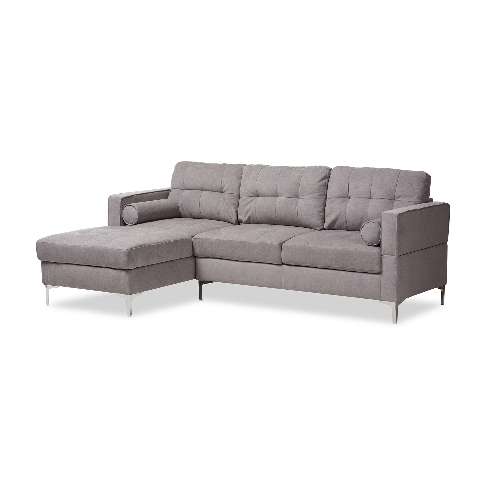 Baxton Studio Mireille Modern And Contemporary Light Grey Fabric  Upholstered Sectional Sofa Affordable Modern Furniture In