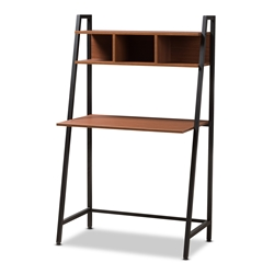 Baxton Studio Ethan Rustic Industrial Style Brown Wood and Metal Desk Affordable modern furniture in Chicago, classic home office furniture, modern desk, cheap desks