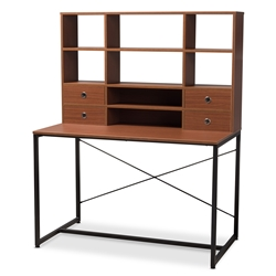 Baxton Studio Edwin Rustic Industrial Style Brown Wood and Metal 2-in-1 Bookcase Writing Desk Affordable modern furniture in Chicago, classic home office furniture, modern desk, cheap desks