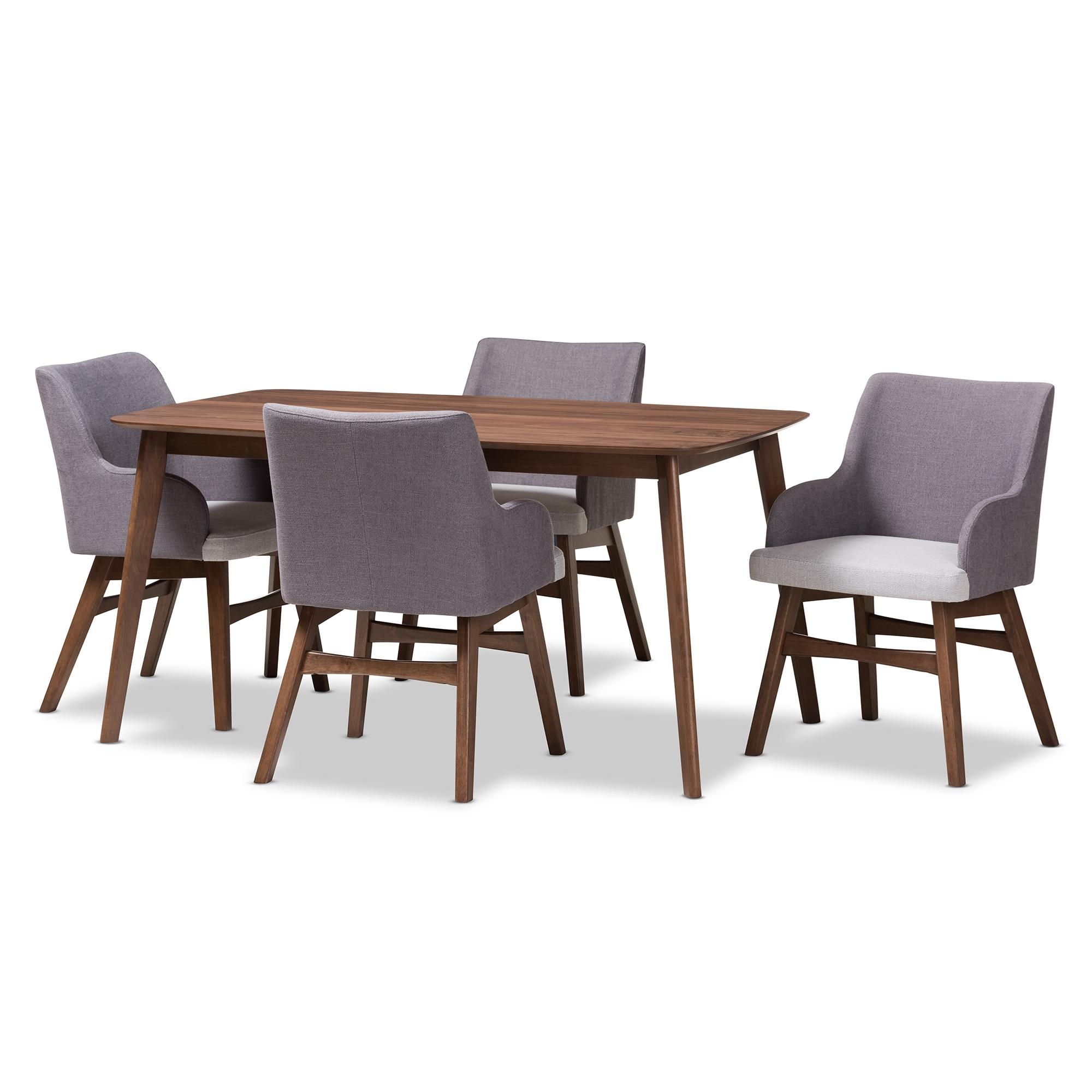 Baxton Studio Monte Mid Century Modern Walnut Wood Rectangular 5 Piece Dining  Set Affordable