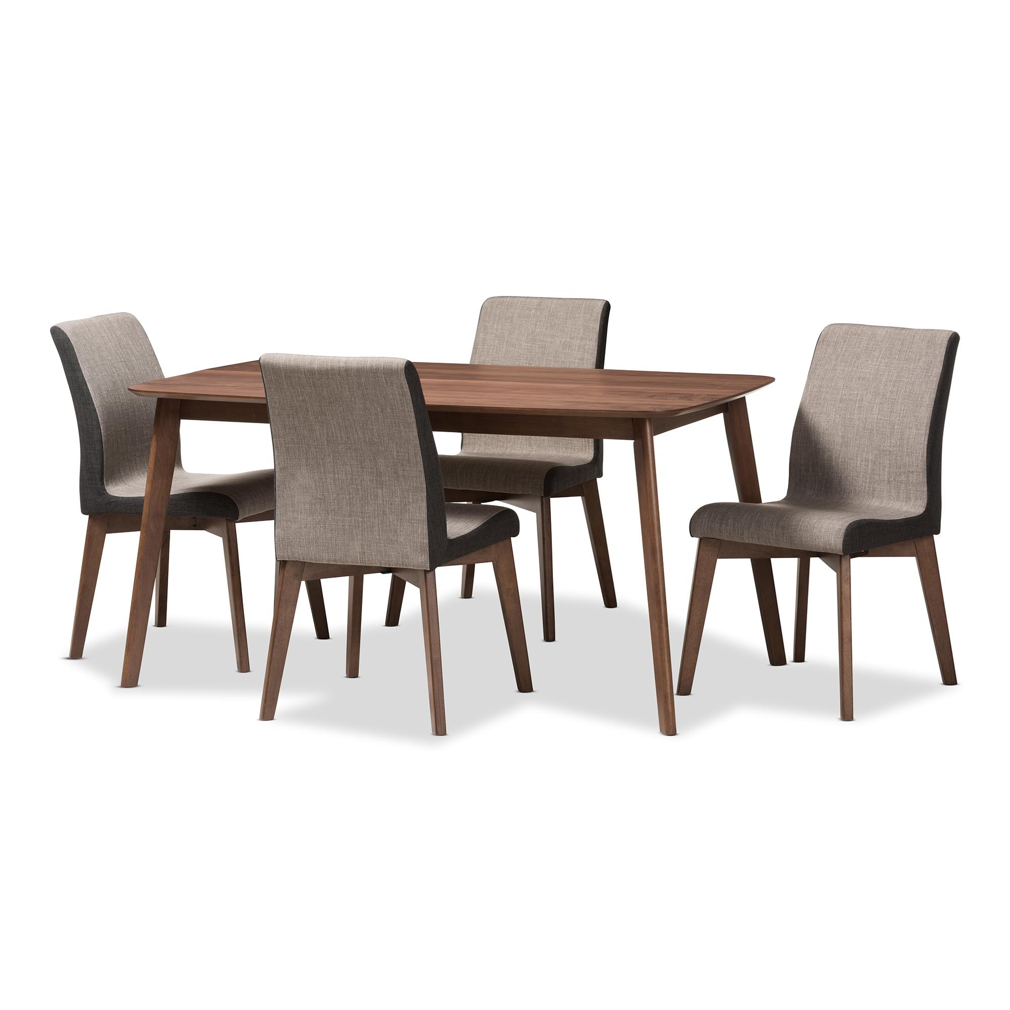 Baxton Studio Kimberly Mid Century Modern Beige And Brown Fabric 5 Piece  Dining Set