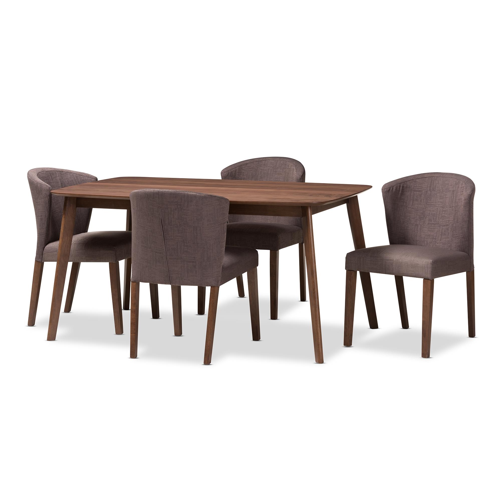 Baxton Studio Cassie Mid Century Modern Walnut Wood Light Brown Fabric  5 Piece Dining Set