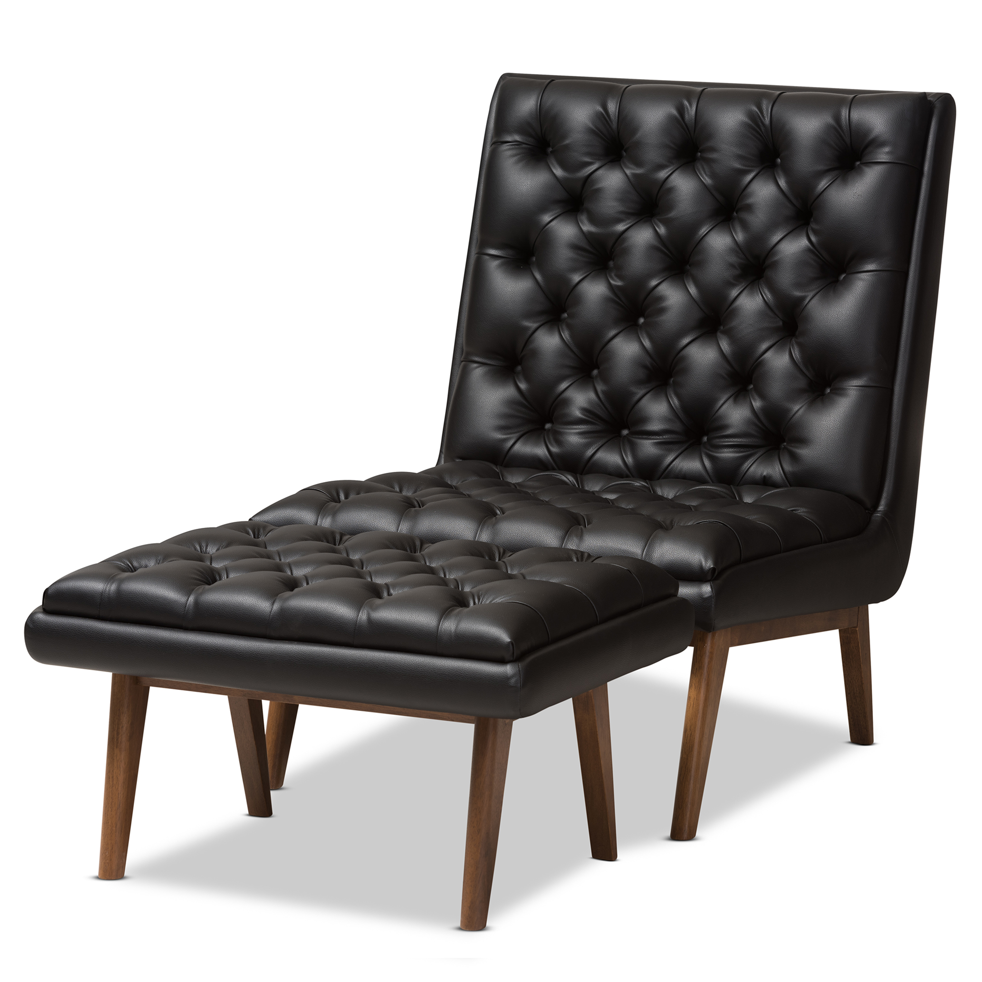Picture of: Baxton Studio Annetha Mid Century Modern Black Faux Leather Upholstered Walnut Finished Wood Chair And Ottoman