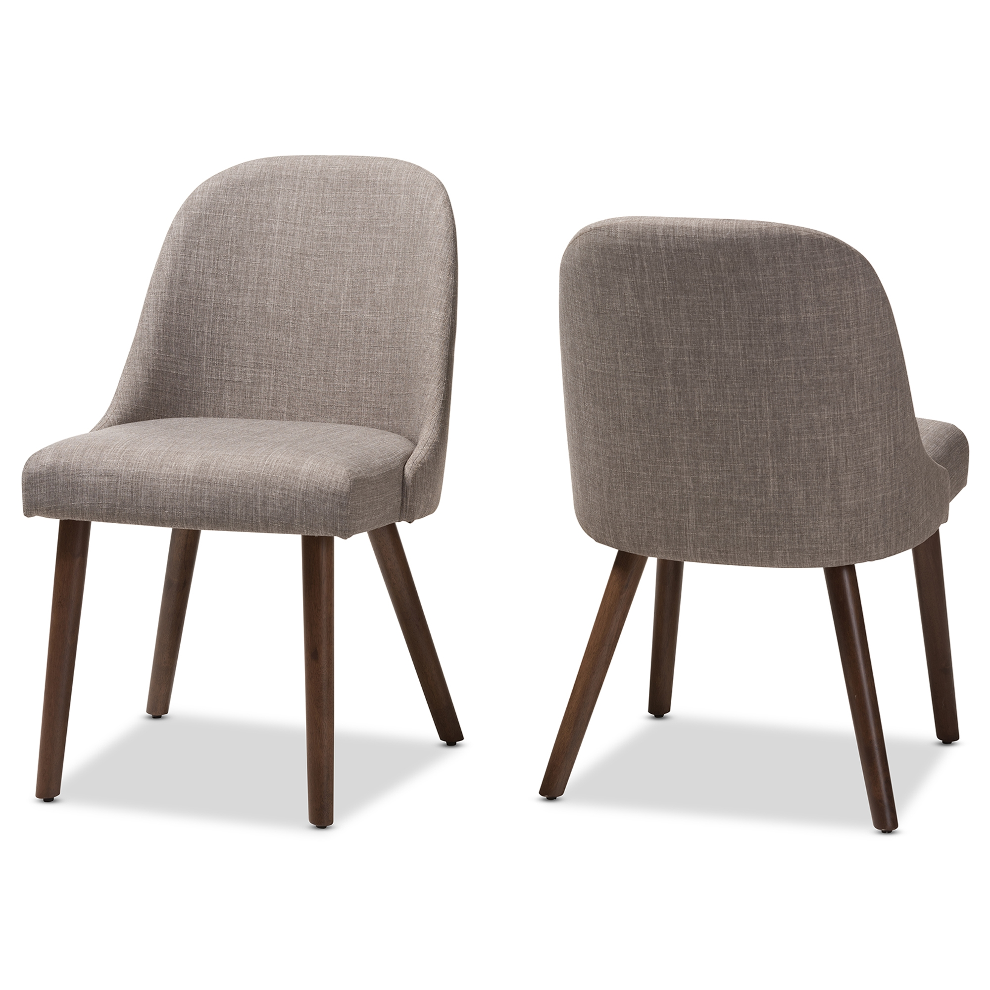 Baxton Studio Cody Mid Century Modern Light Grey Fabric Upholstered Walnut  Finished Wood Dining Chair (Set Of 2)