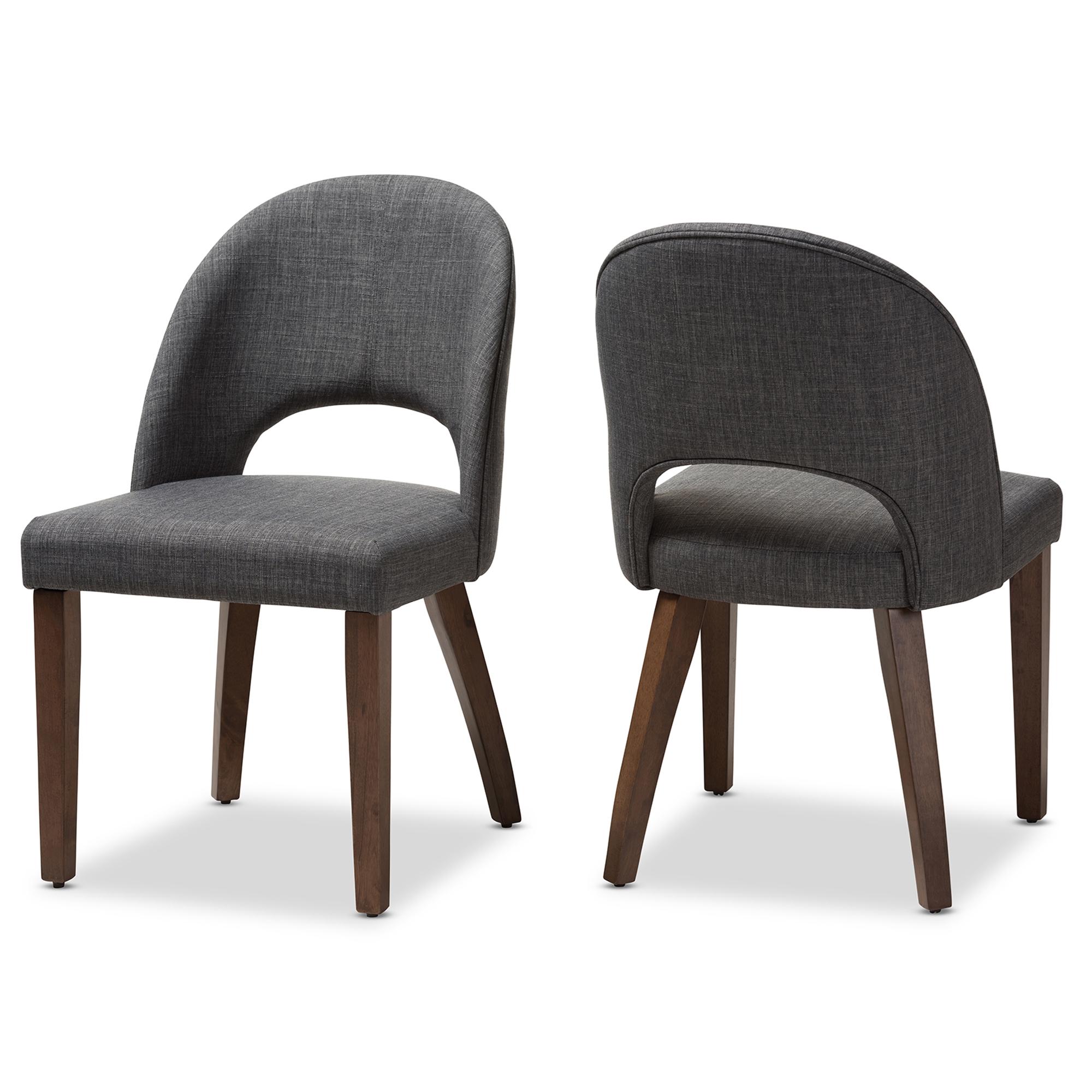Baxton Studio Wesley Mid Century Modern Dark Grey Fabric Upholstered Walnut  Finished Wood Dining Chair