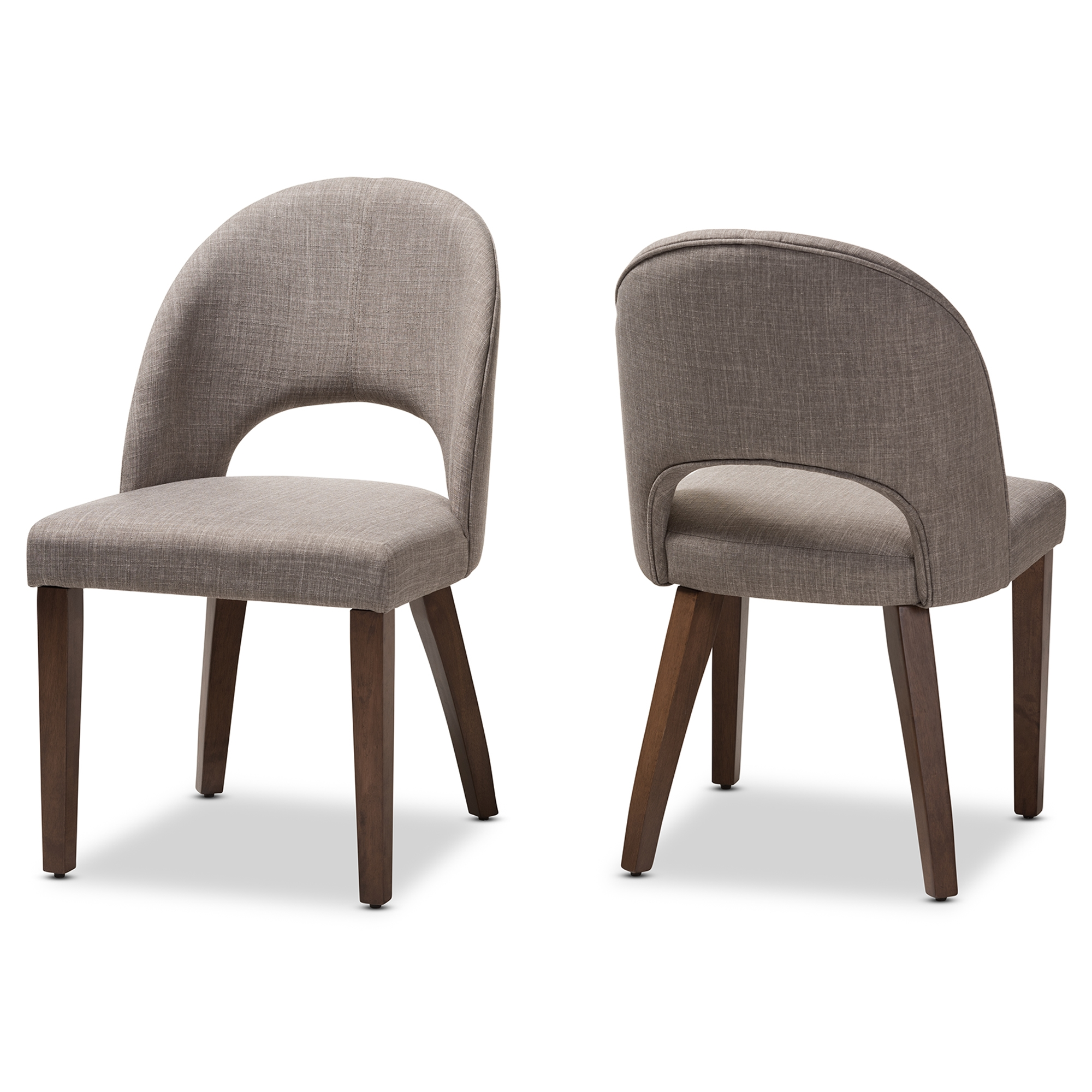 Baxton Studio Wesley Mid Century Modern Light Grey Fabric Upholstered  Walnut Finished Wood Dining Chair