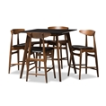 Baxton Studio Flora Mid-Century Modern Black Faux-Leather Upholstered Walnut Finished 5-Piece Pub Set Affordable modern furniture in Chicago, classic bar furniture, modern pub set, cheap pub sets
