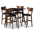 Baxton Studio Eline Mid-Century Modern Black Faux Leather Upholstered Walnut Finished 5-Piece Pub Set Affordable modern furniture in Chicago, classic bar furniture, modern pub set, cheap pub sets