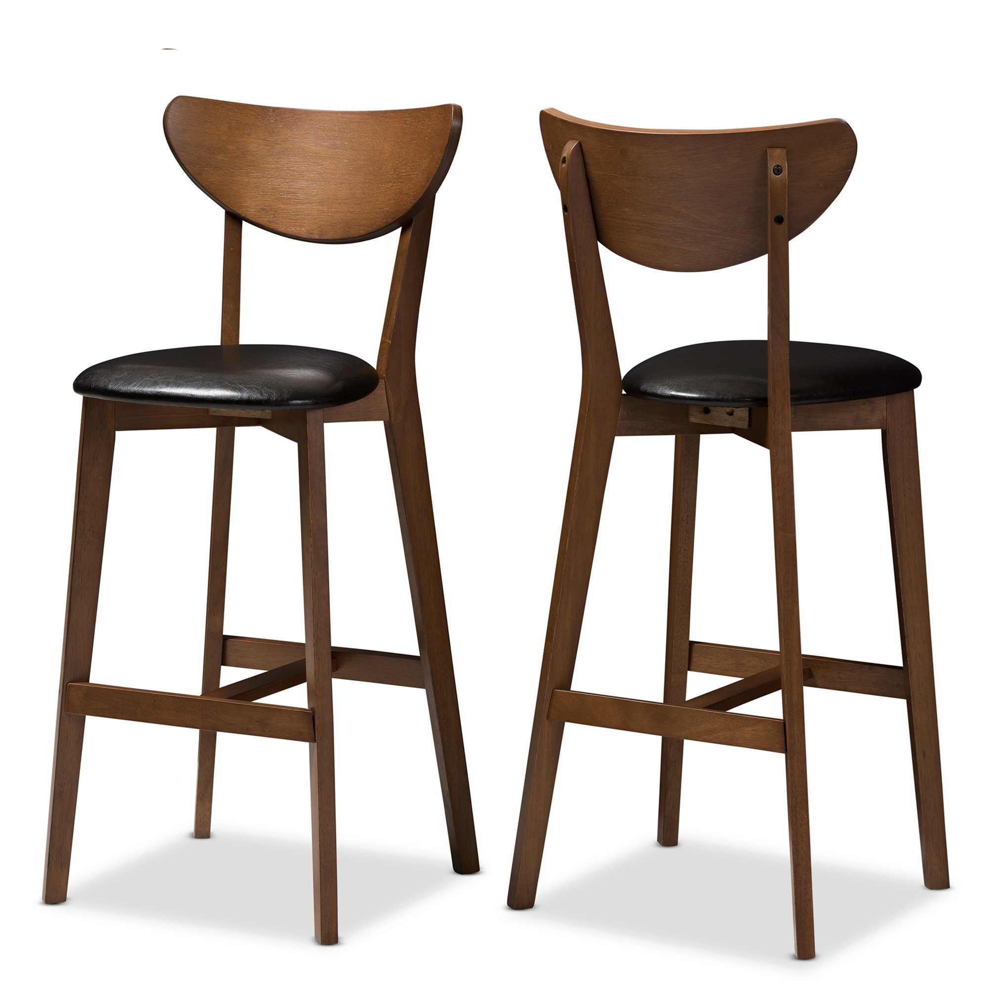 Superbe Baxton Studio Eline Mid Century Modern Black Faux Leather Upholstered  Walnut Finished Bar Stool (