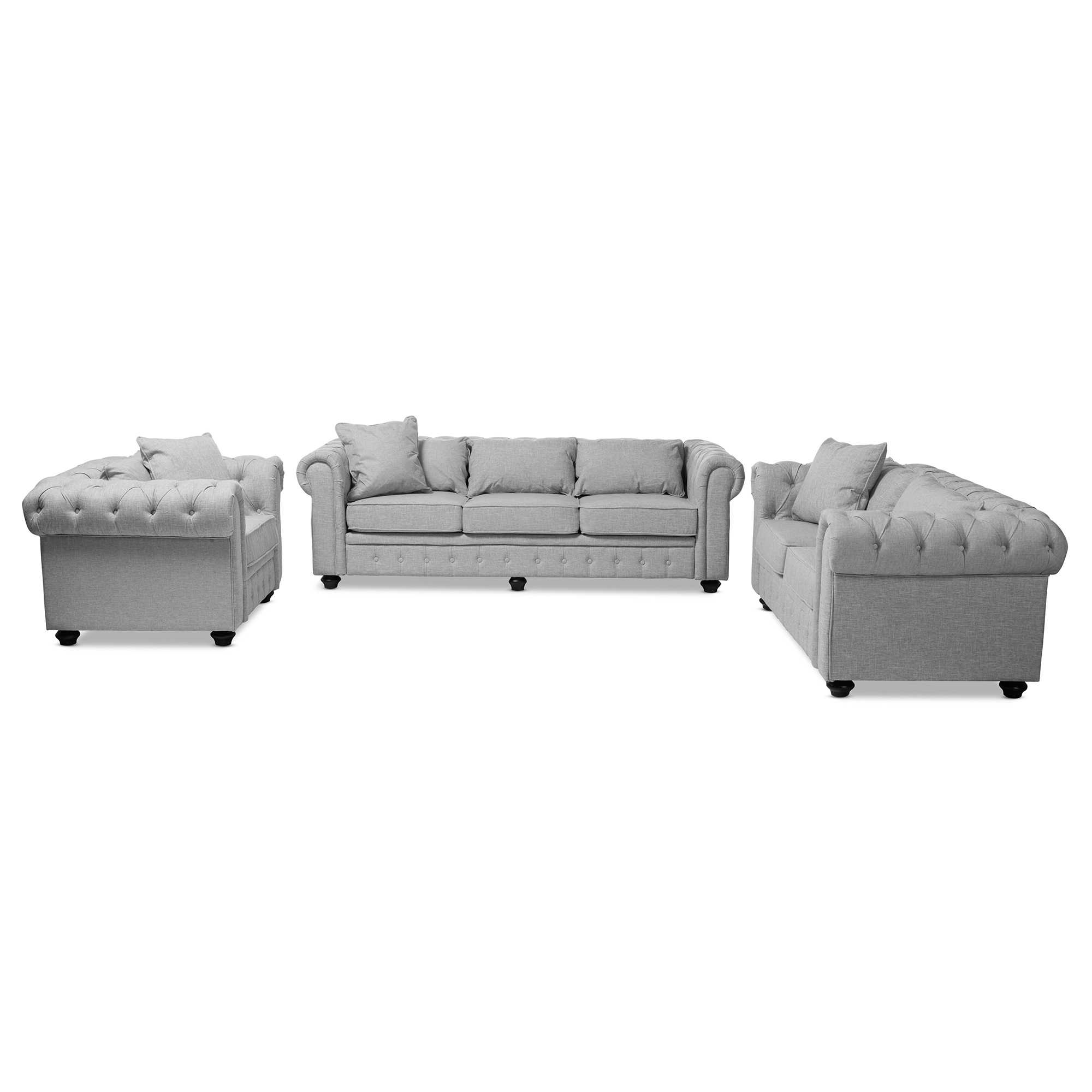 Baxton Studio Alaise Modern Classic Grey Linen Tufted Scroll Arm  Chesterfield 3 Piece Living Room Set