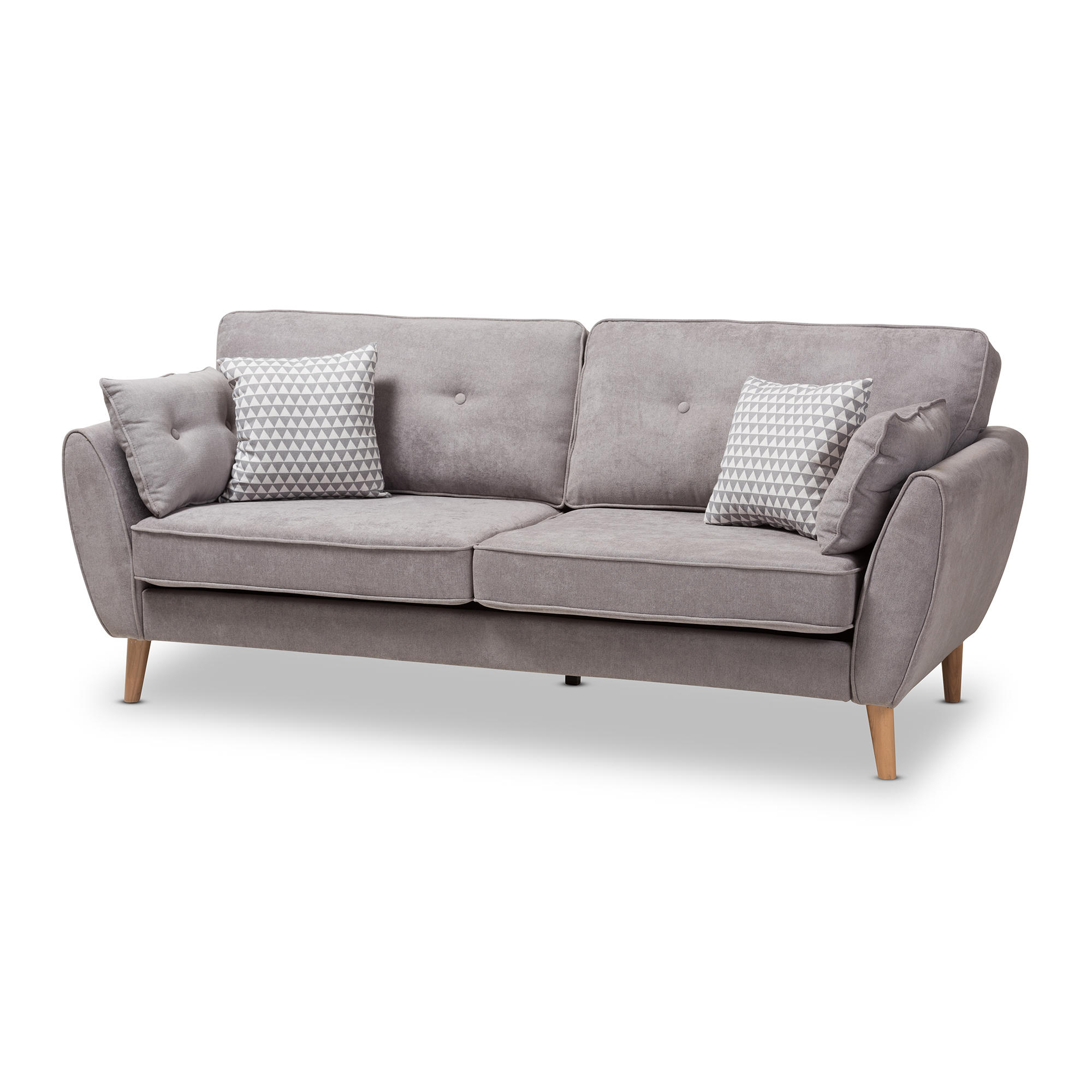 Baxton Studio Miranda Mid Century Modern Light Grey Fabric Upholstered Sofa  Affordable Modern Furniture In