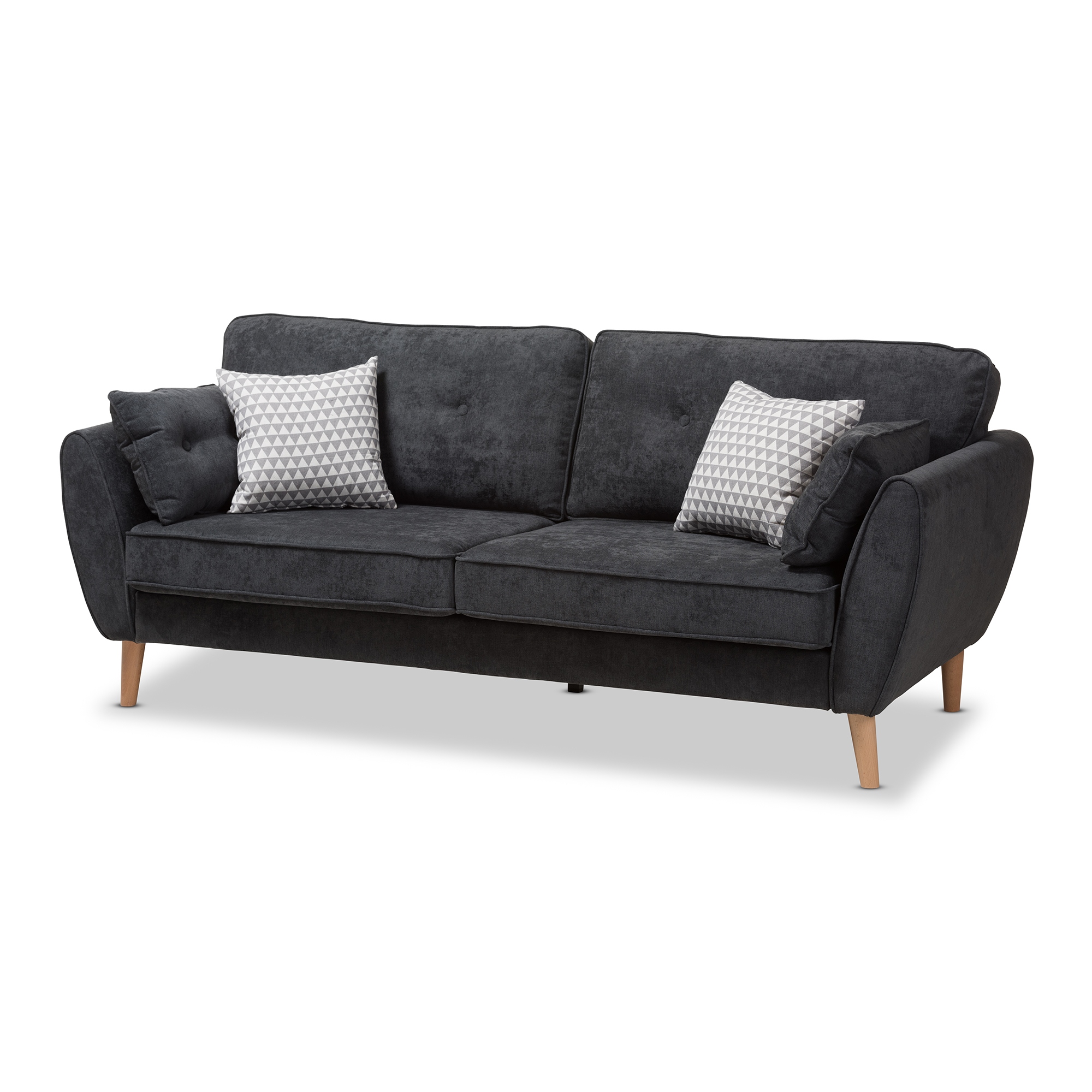 Baxton Studio Miranda Mid Century Modern Dark Grey Fabric Upholstered Sofa  Affordable Modern Furniture In