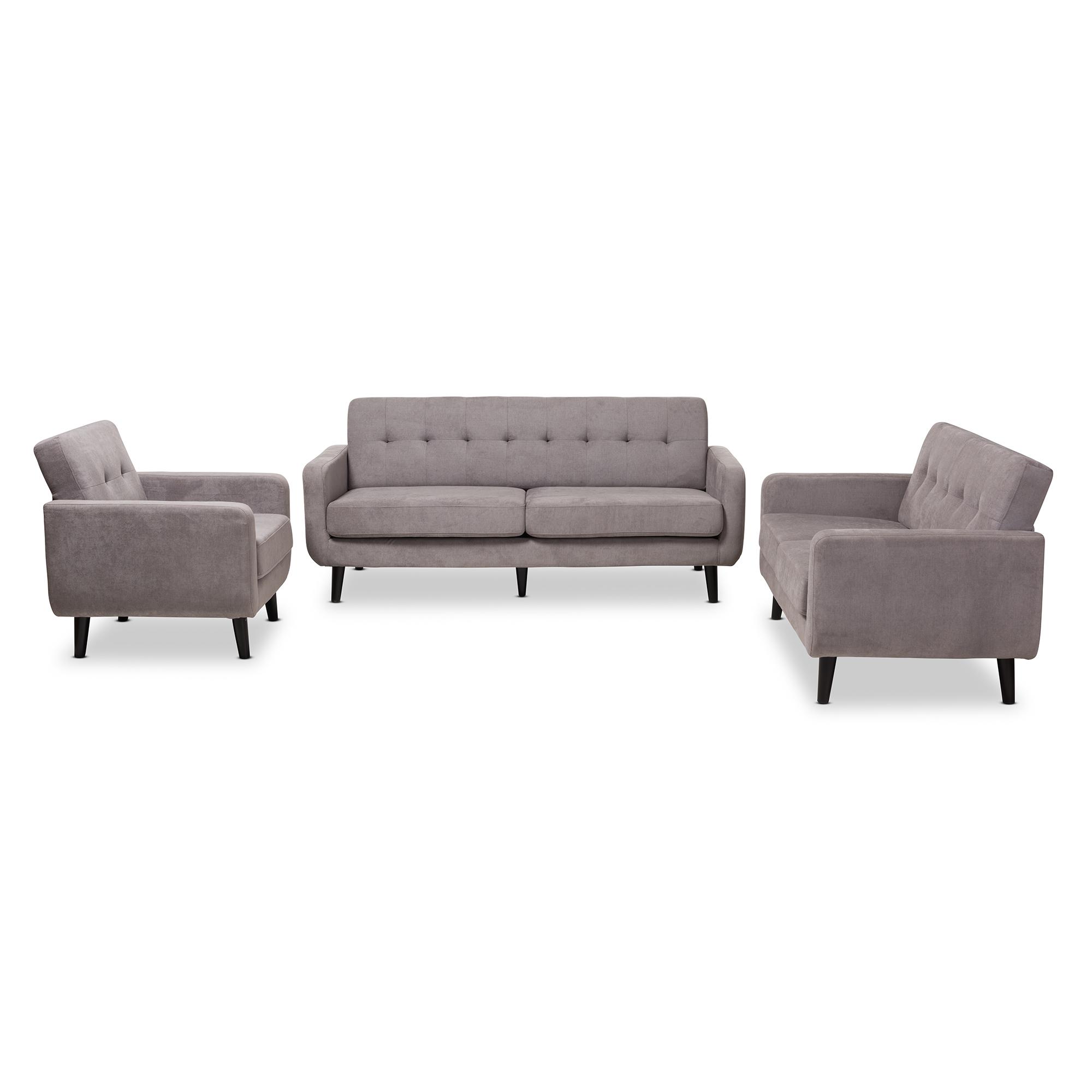 Baxton Studio Carina Mid Century Modern Light Grey Fabric Upholstered  3 Piece Living Room