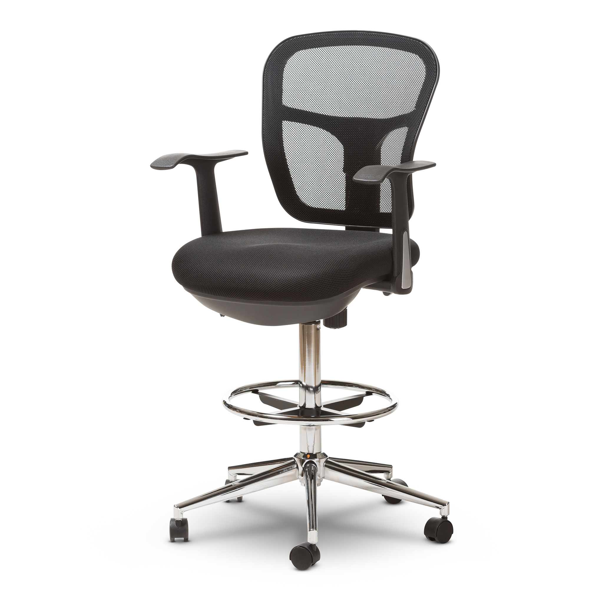 modern drafting chair. Baxton Studio Landon Modern And Contemporary Black Mesh Adjustable Height Drafting Stool Chair