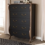 Baxton Studio Romilly Country Cottage Farmhouse Black and Oak-Finished Wood 5-Drawer Chest - BSOBR990064-Black/Oak-5DW-Chest