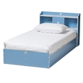Baxton Studio Aeluin Contemporary Children's Blue and White Finished 2-Piece Bedroom Set Affordable modern furniture in Chicago, classic bedroom furniture, modern bed, cheap kids bed
