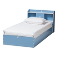 Baxton Studio Aeluin Contemporary Children's Blue and White Finished Platform Bed Affordable modern furniture in Chicago, classic bedroom furniture, modern bed, cheap kids bed