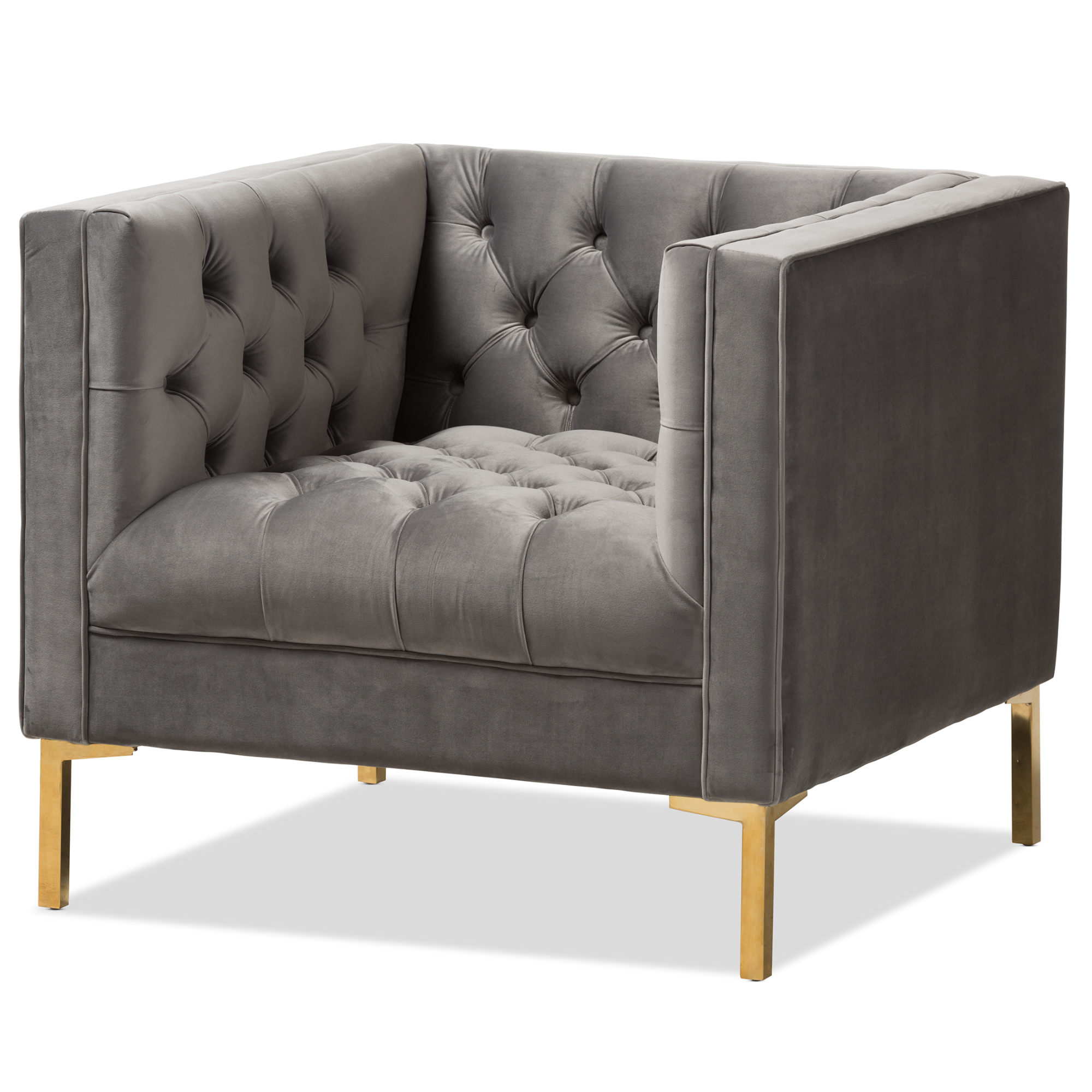 Baxton Studio Zanetta Luxe And Glamour Grey Velvet Upholstered Gold  Finished Lounge Chair Affordable Modern Furniture